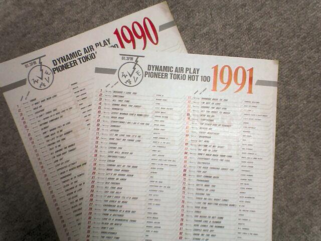 90,91年の年間チャート